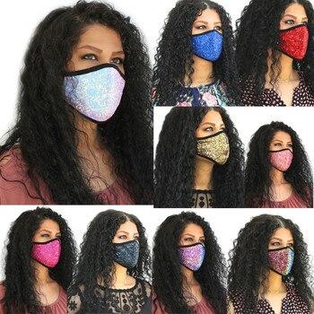 reusable face mask  Women Sequins Cotton Mask Washable Breathable Mask Festival Mask mascara de boca