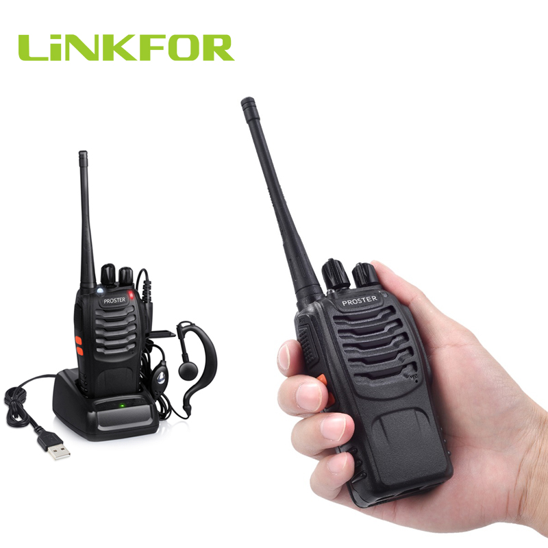 LiNKFOR One Pcs Rechargeable Walkie Talkie 16 Channels BF-888S Walkie Talkie UHF 400-470MHz (Only One Walkie Talkie)