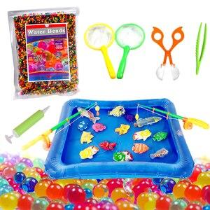 Juego de piscina inflable portátil con cuentas de agua para niños, juguete de ducha para niños, no tóxico, con cuentas de agua y peces flotantes