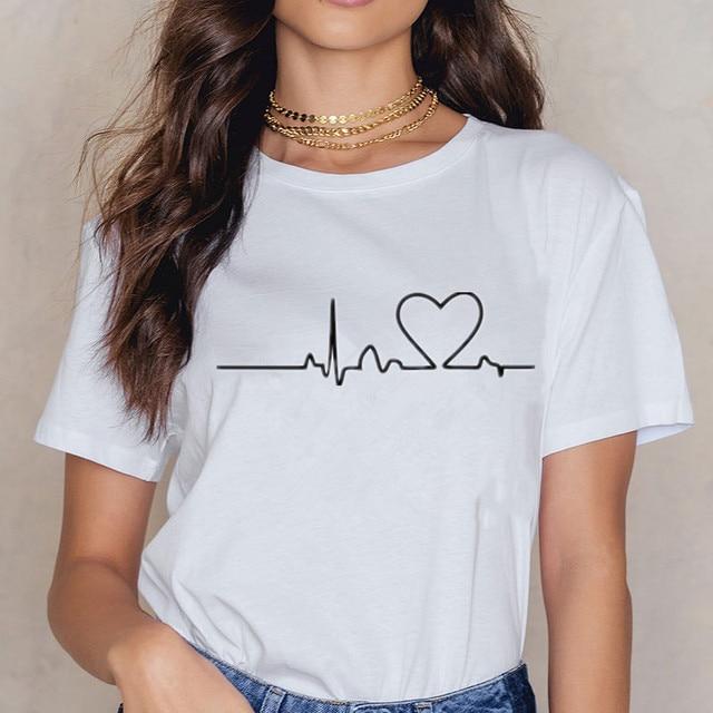 New Women T-shirts Casual Love Printed Tops Tee Summer Female T shirt 1