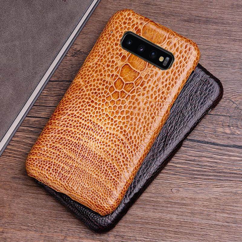 Téléphone étui pour samsung Galaxy S6 S7 bord S8 S9 S10 Note 8 9 10 plus A30 A50 A70 Naturel peau d'autruche Pour A5 A7 J5 2017 A8 2018