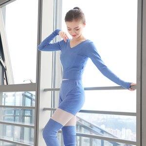 Image 5 - 新スタイルの女性バレエダンススーツ 2 個セーターショートパンツとトップス秋冬暖かい大人ニットダンスの衣装バレエ