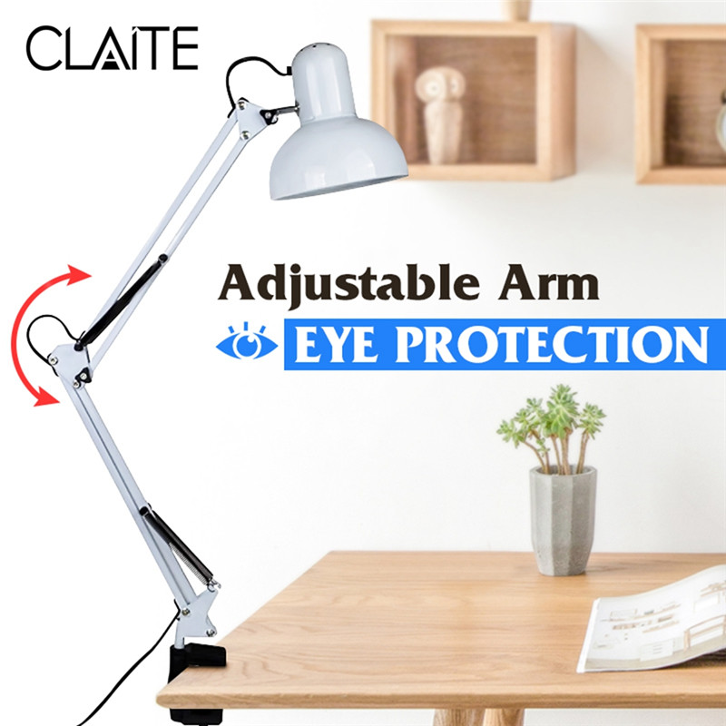 CLAITE Flexible Swing Arm Clamp Mount Lamp Desk Lamp Table Light Office Studio Home E27/E26 White Table Desk Light AC85-265V