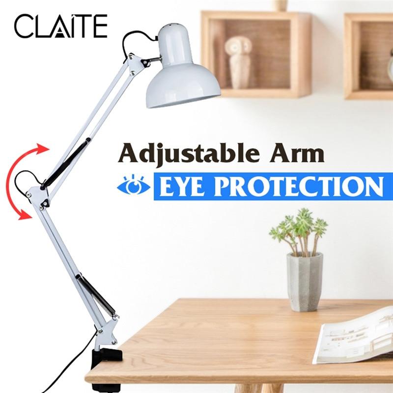 CLAITE Flexible Swing Arm Clamp Mount Lamp Desk Lamp Table light Office Studio Home E27/E26 White Table Desk Light AC85-265V