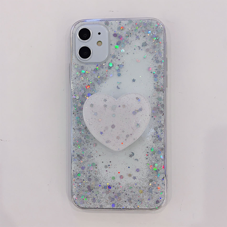 H1f9b6a3ec6c14d178506c5b154a42f4b3 - Bling Glitter Phone Case For iphone 11 Case 11 pro max 6 6s 7 8 Plus X XR XS Max Star Sequin Cover Funda Stand Holder Coque