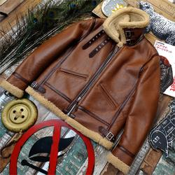 The Japanese Version B3 Leather and Fur Leather Jacket New Japanese-Style Retro Genuine Leather Clothes