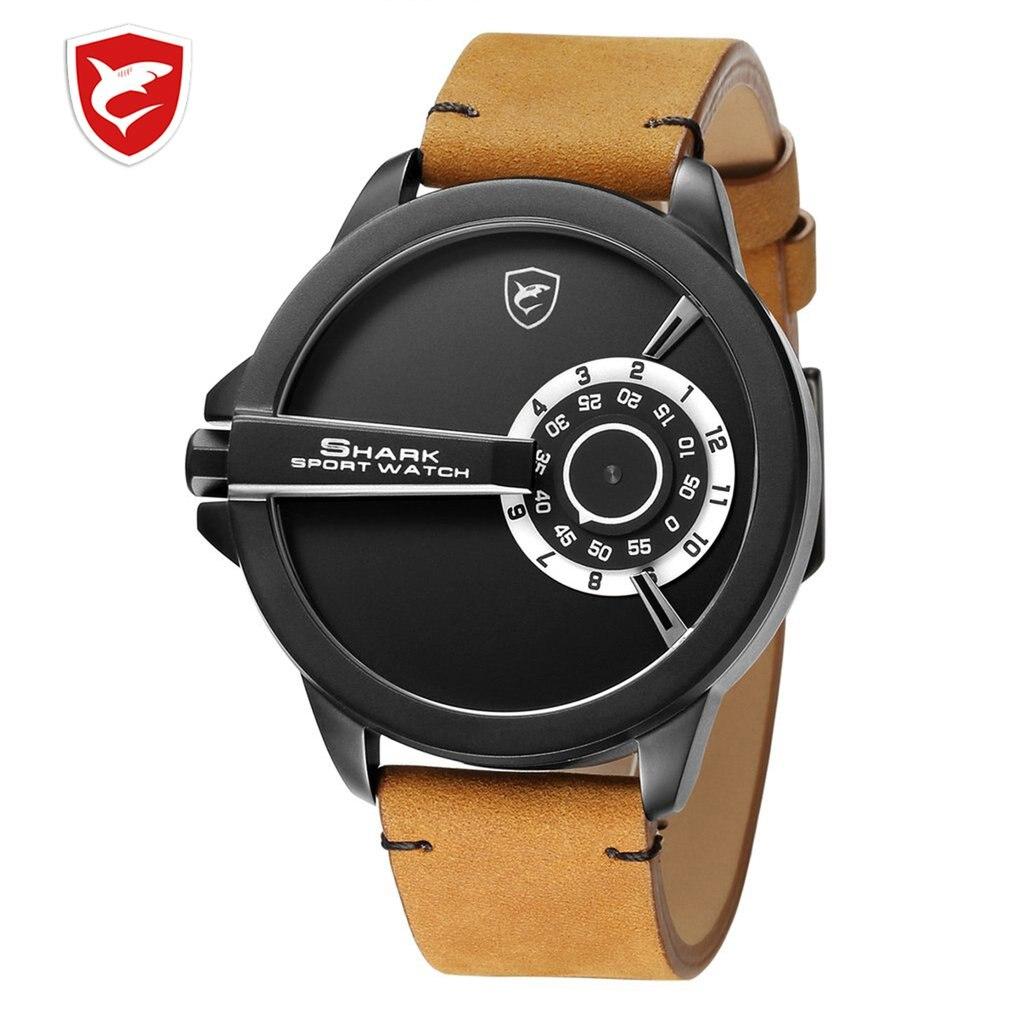 Nuevo reloj deportivo de tiburón, esfera giratoria, diseño especial, banda de cuero de cuarzo Crazy Horse resistente al agua, relojes creativos de pulsera para hombres/SH561