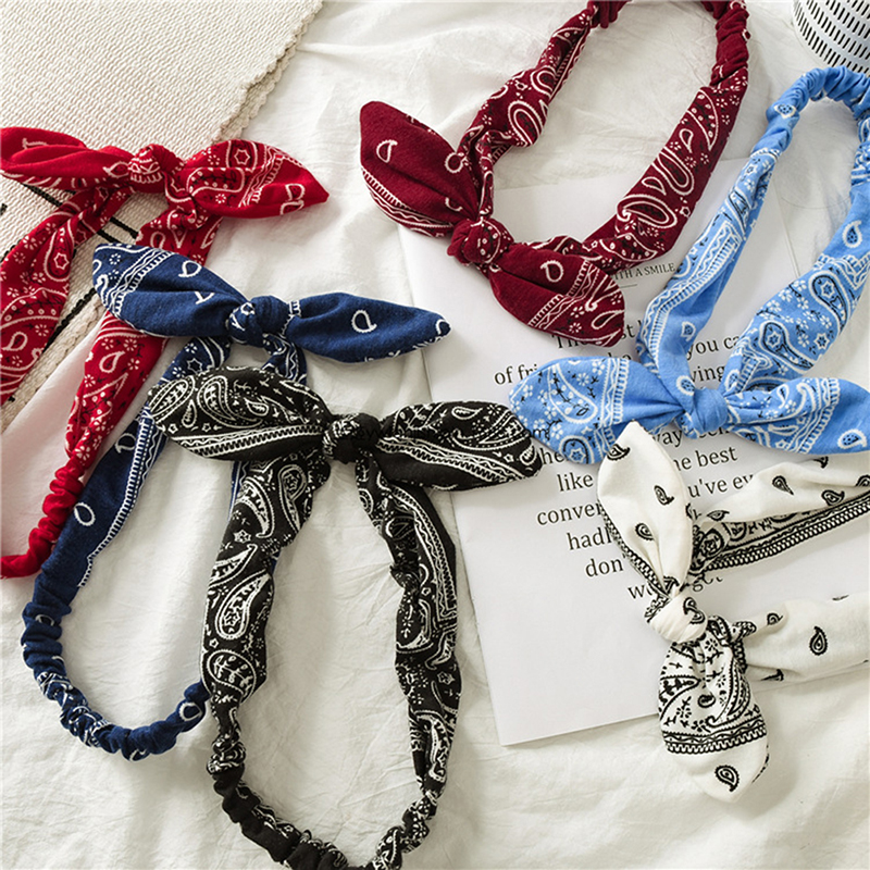 Women Hair Band Headband Cute Rabbit Ear Twist Bow Knot Stripe Wire Accessories