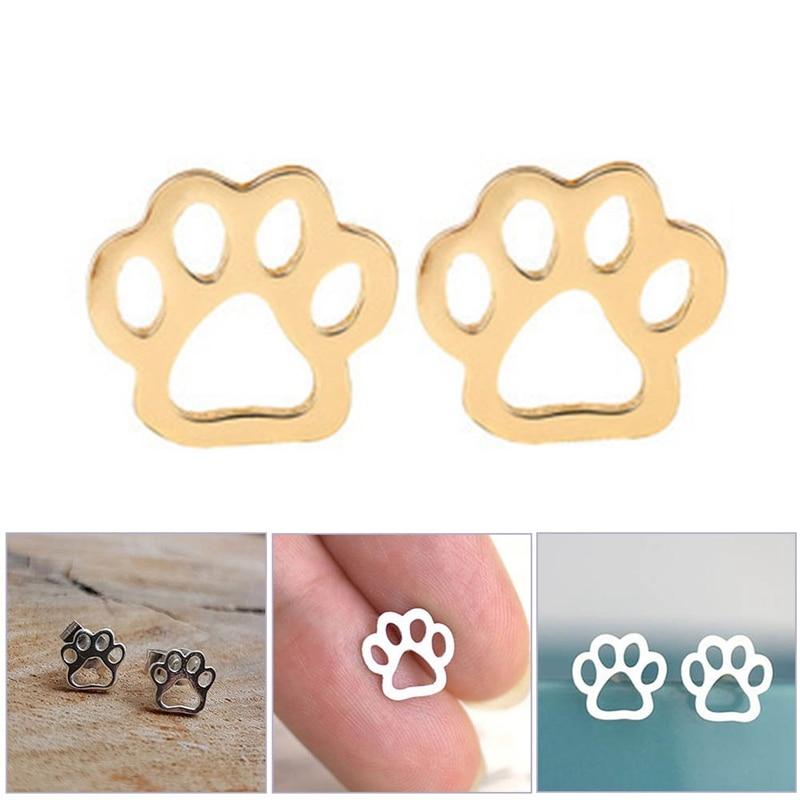 Cute Dog Paw Print Earrings for Women Hollow Dog Paw Stud Earrings part gifts Fashion Chihuahua Siberian Husky Earring Jewelry Stud Earrings    - AliExpress
