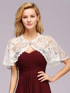 Image 4 - Elegant Bridal Jackets and Shrugs Evening Party Lace Wraps Bolero with Brooch For Women Coat