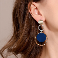 Alloy Big Hoop Earrings Stud Long Round with Zircon Bohemia Jewelry Women Trendy Multilayer Exaggerated Acrylic Ear Rings