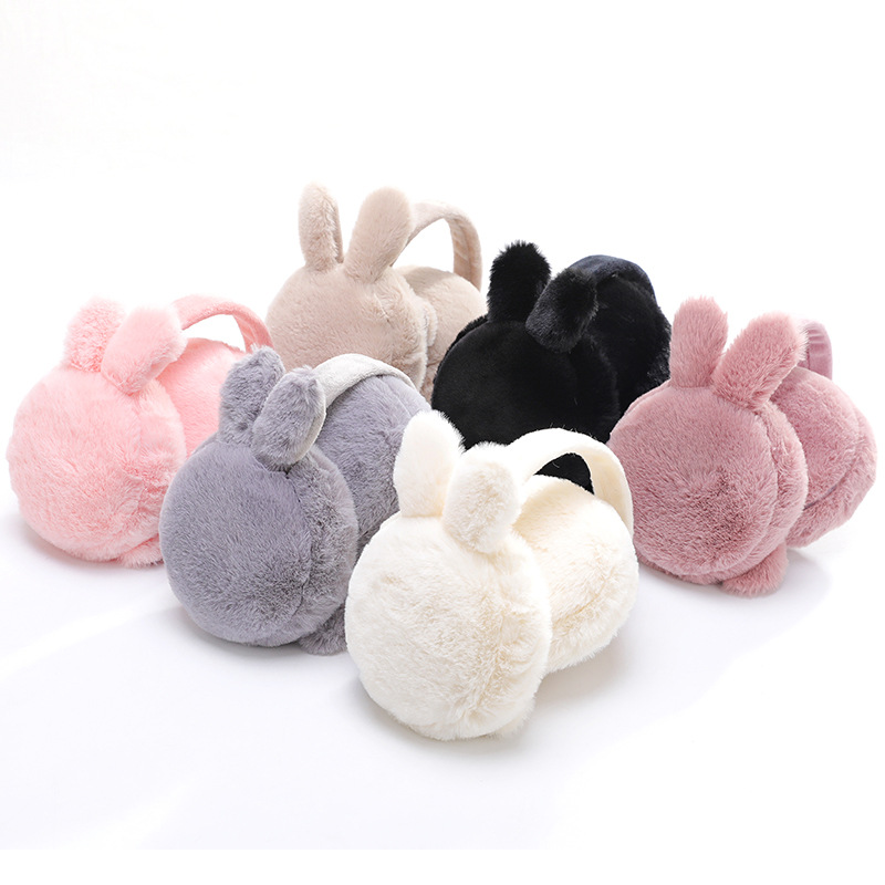 Rabbit Ears Plush Warm Earmuffs Winter Cartoon Cute Ear Warmer Solid Color Foldable Comfortable Earlap Earmuffs High Quality