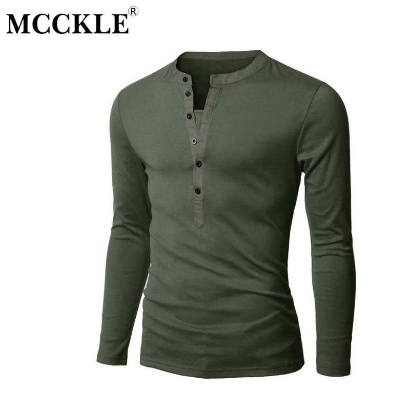 New2019 Men T-shirt Mandarin Collar Long Sleeve 100/% Cotton Top Tees Solid Color