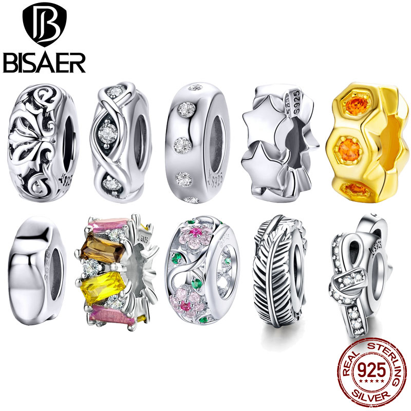 BISAER Hot Sale 925 Sterling Silver Flower Leaves Leaf Spacer Honeycomb Star Beads Charms Fit Charms Bracelets DIY Jewelry