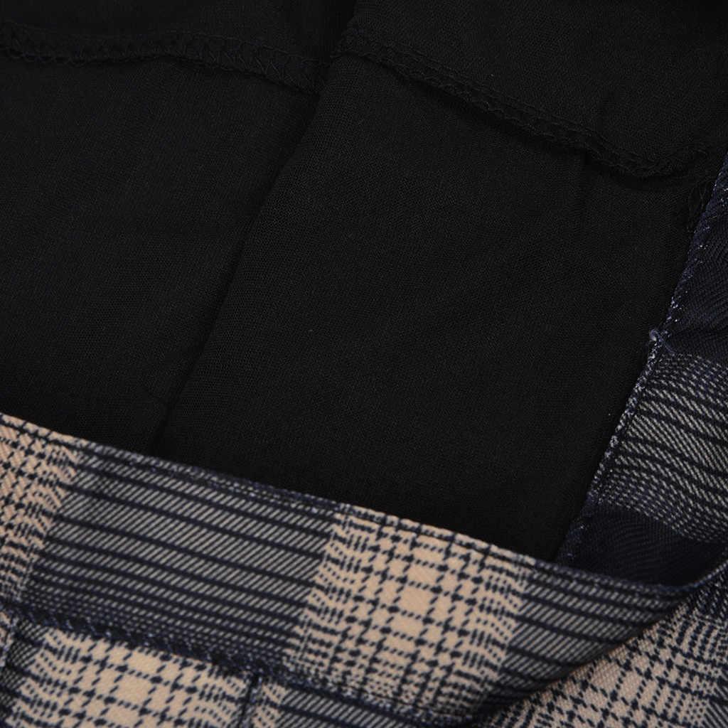 Plisowana spódnica damska юбка плиссе krótka w kratę, z guzikami mucha młodzieżowa jednolita podstawowa Mini spódniczka Slim Fit Faldas Mujer Moda 2019 OY40 *