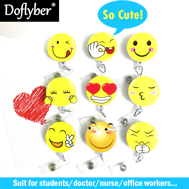 Acrylic Funny Smiling Face Retractable Pull Badge Reel ID Card Holder Belt Clip Lanyard Name Tag Card For School Office