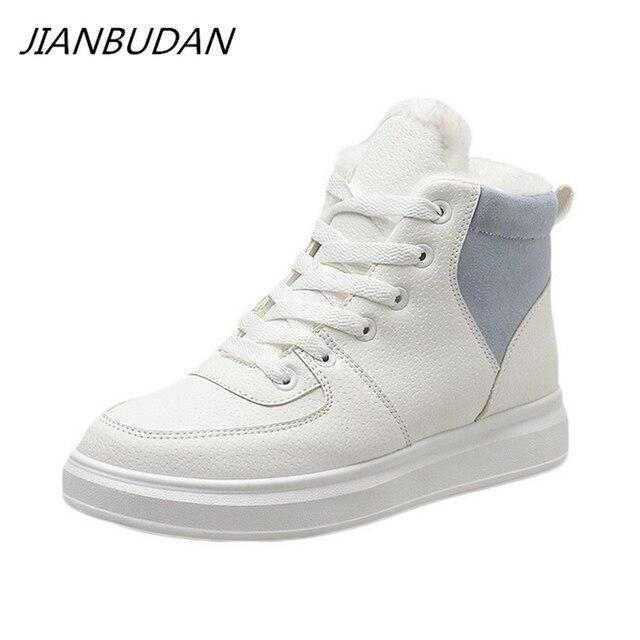JIANBUDAN femmes décontracté hiver imperméable coton chaussures en peluche chaud plat bottes de neige mode fille blanc hiver coton bottes 35 40