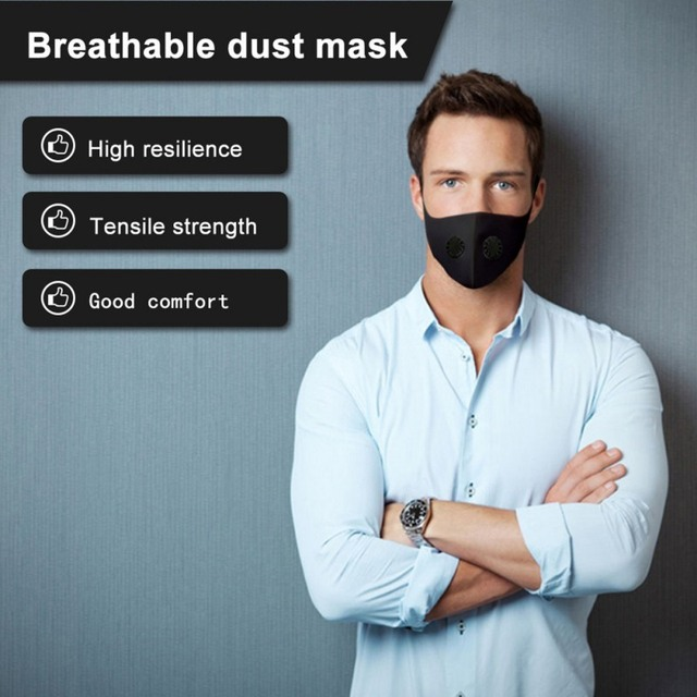 PM2.5 Black mouth Masks anti dust masks Activated carbon filter Mouth-muffle bacteria proof Flu Face masks with Filter 3