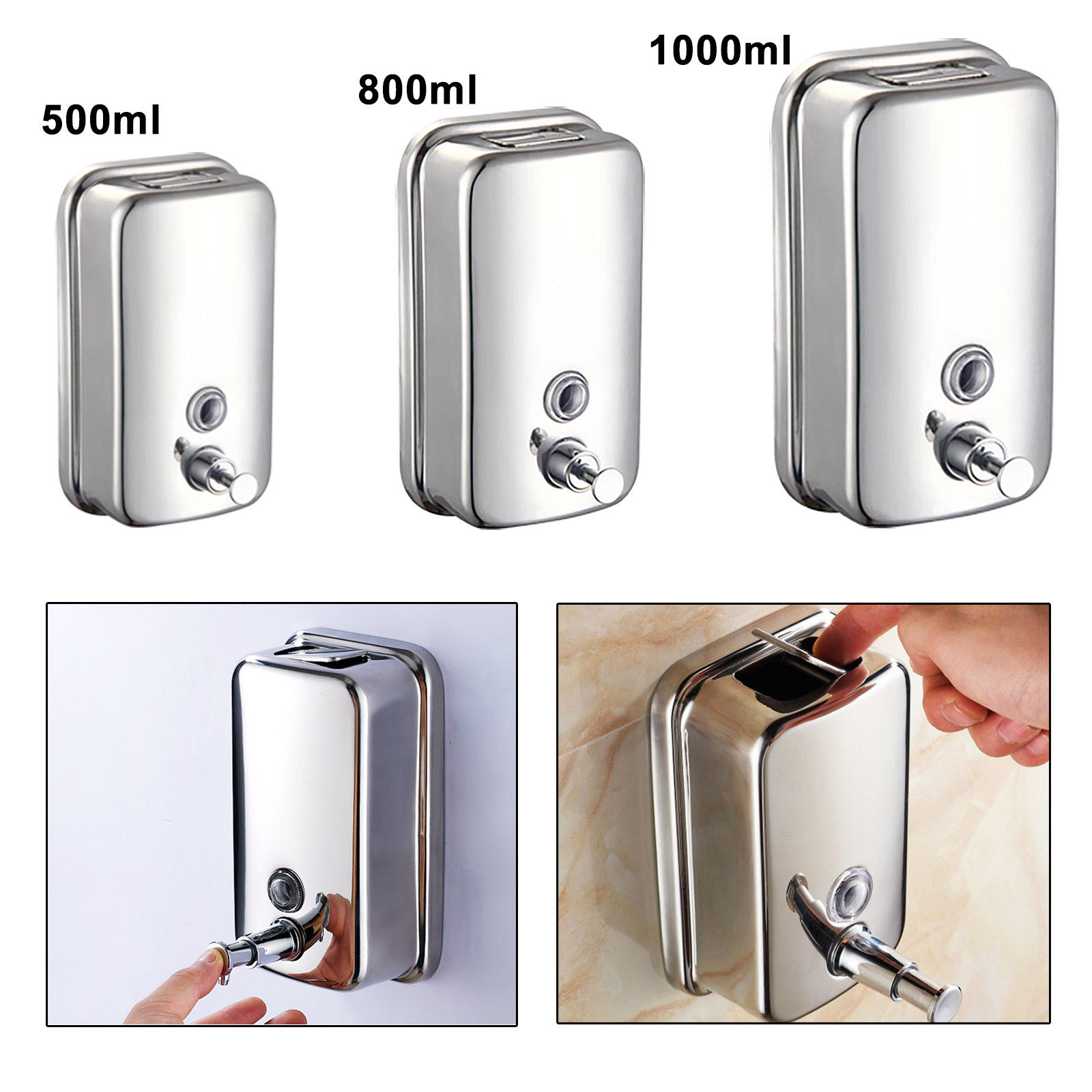 New 500ML / 800ml / 1000ml Dish Shower Bathroom Dispenser Soap Wall Gel Baths Minimalist Modern Cabine De Douche Stainles Steel
