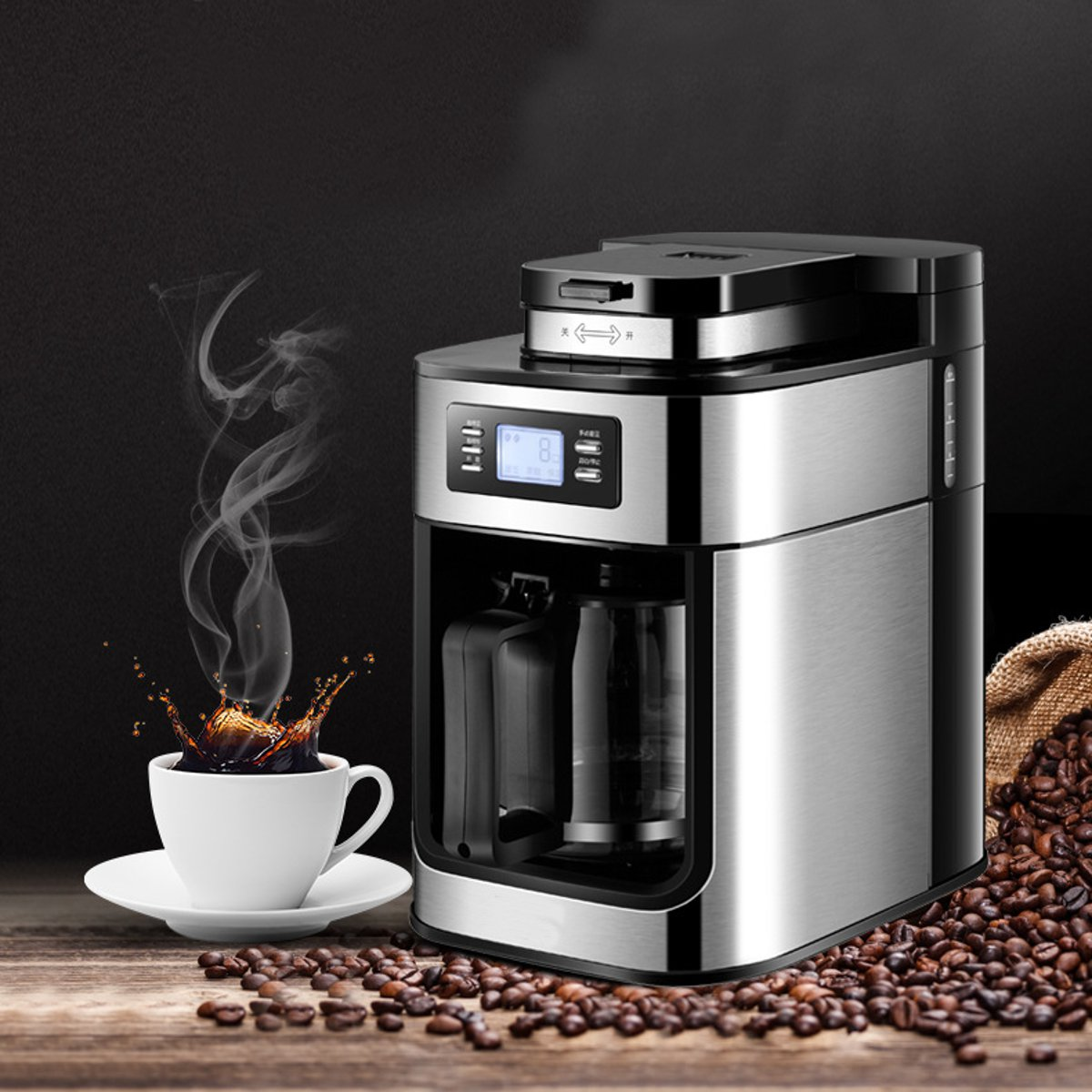 220V 1200ml Electric Coffee Maker Machine Household Fully-Automatic Drip Coffee Maker Tea Coffee Pot Kitchen Appliance 1000W
