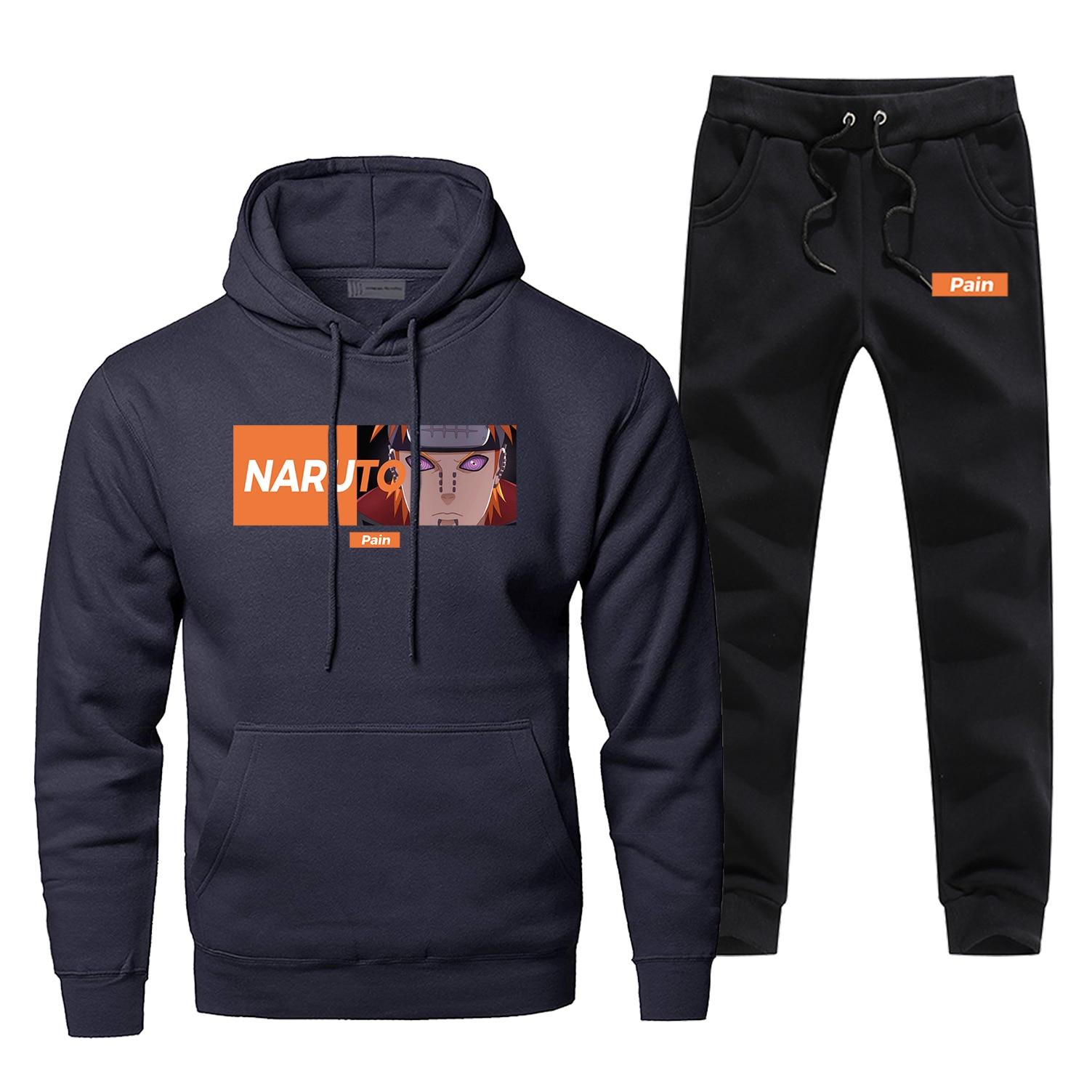 Japan Anime Tracksuit Naruto Akatsuki Pein Hoodies Pants 2pcs Sets Men Harajuku Sportswear Casual Fleece Streetwear Sweatpants