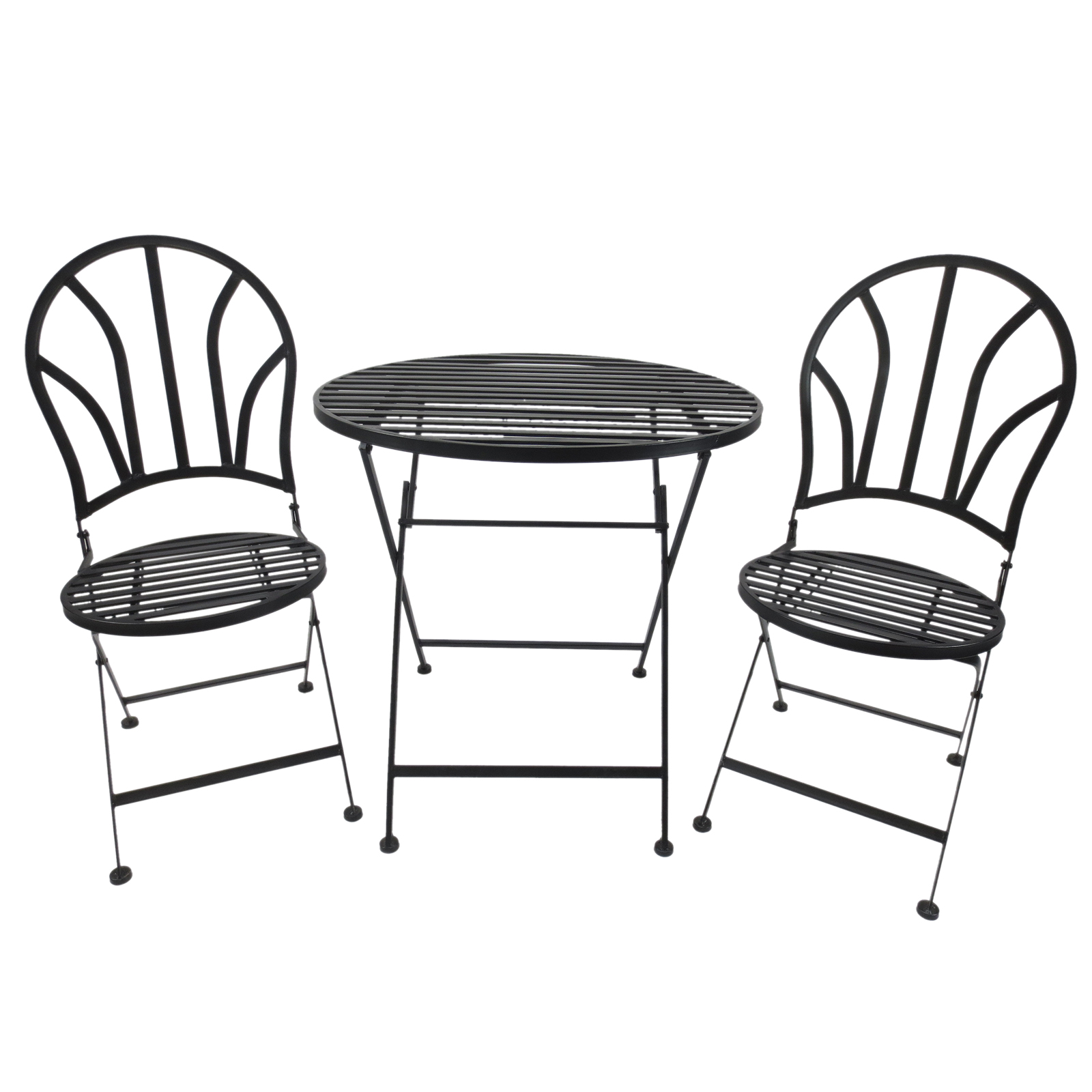 Outsunny Dining Set 3 Piece Coffee Table And 2 Chairs Bistro Metal Ф70x70 Cm Black