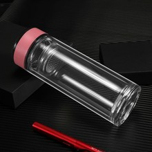 Transparent double-layer glass color borosilicate heat-resistant water cup Sealed leakproof