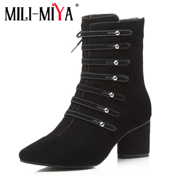 MILI-MIYA New arrival Genuine Leather Mid-Calf boots Autumn/Early winter Pointed toe Zip Western handmade for ladies hot sale
