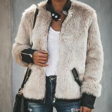 Goocheer Высокое качество для женщин теплый плюшевый мишка флис кожа лоскутное карман с длинным рукавом тонкая куртка на молнии одежда оверсайз пальто