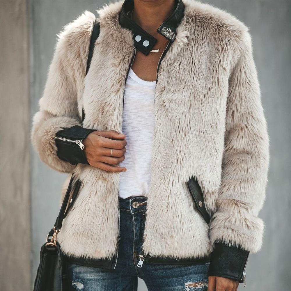 Goocheer High Quality Women Warm Teddy Bear Fleece Leather Patchwork Pocket Long Sleeve Slim Jacket Zip Up Oversize Outwear Coat