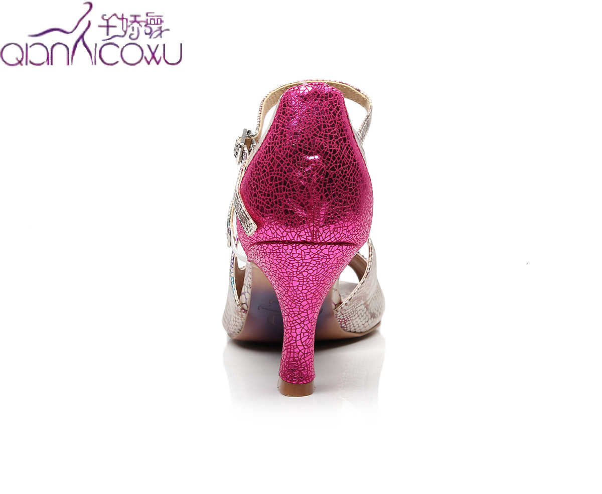 Sıcak satış caz Salsa balo Latin dans ayakkabıları dans kadın eğitim yüksek topuklu parlak burnu açık 1009 pompaları