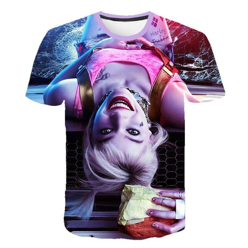 Mới Ngộ Nghĩnh Nữ Chú Hề Áo Thun Nam Nữ Áo Sơ Mi Top 3D Bông Tai Kẹp Hoạt Hình Harley Quinn Áo Thun Phim Tự Sát Đội Hình Áo Sơ Mi