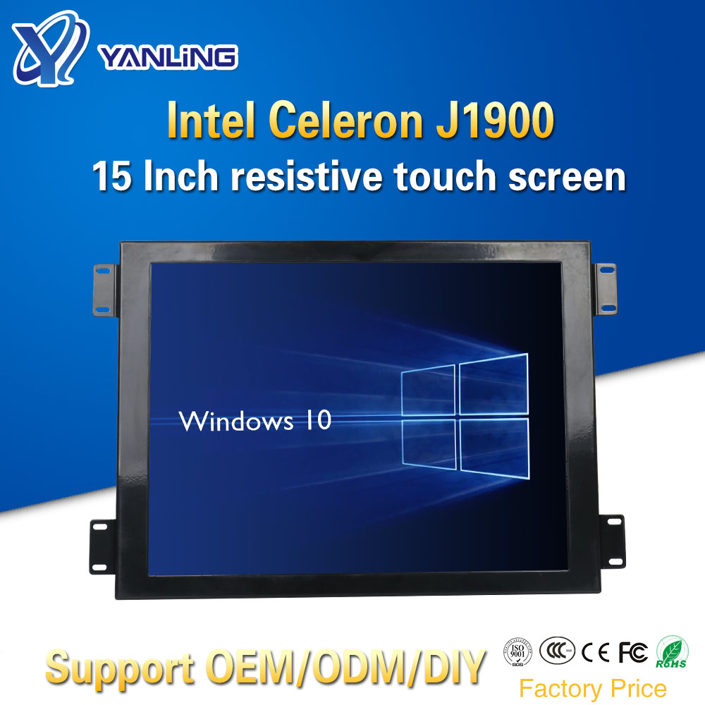 Yanling Cheap 15 Inch All In One PC Intel Celeron J1900 Quad Core Resistive LCD Touch Screen Barebone Embedded Computer With Fan