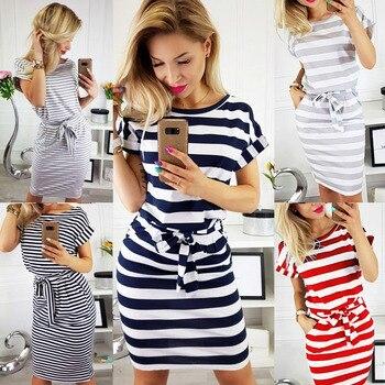 Plus Size Women Clothing Summer Dress Casual O-Neck Short Sleeve Striped Slim Bodycon Dress Female Pockets Mini Cotton Dress 048