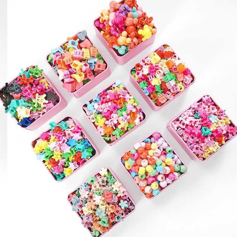 10-100 sztuk/pudło nowy cukierki kolor przypinki do włosów w kształcie kwiatów Cartoon groszek klipy dzieci korona gwiazda Mini spinki do włosów akcesoria do włosów dla dziewczynek