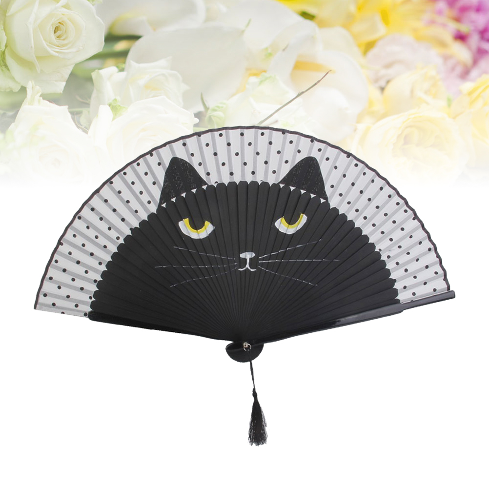 Vintage Bamboo Folding Hand Held Cat Fan Silk Cloth Japanese Cute Style Party Pocket Gifts Wedding Girls Gifts