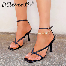 2020 Summer Ladies Sandals Sexy Thin High Heels Shoes Female Clip-On Strappy Sandals Square Toe Stiletto Women's Shoes Plus Size pumps shoes slingback open toe double strap sandals black summer women strappy designer stiletto high heels sexy big size 11