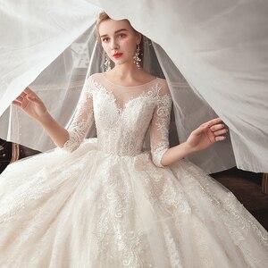 Image 5 - חדש מגיע שלושה רבעון שרוול ואגלי אפליקציות תחרה נסיכת כדור שמלת חתונת שמלות בתוספת גודל  סין חלוק Mariee