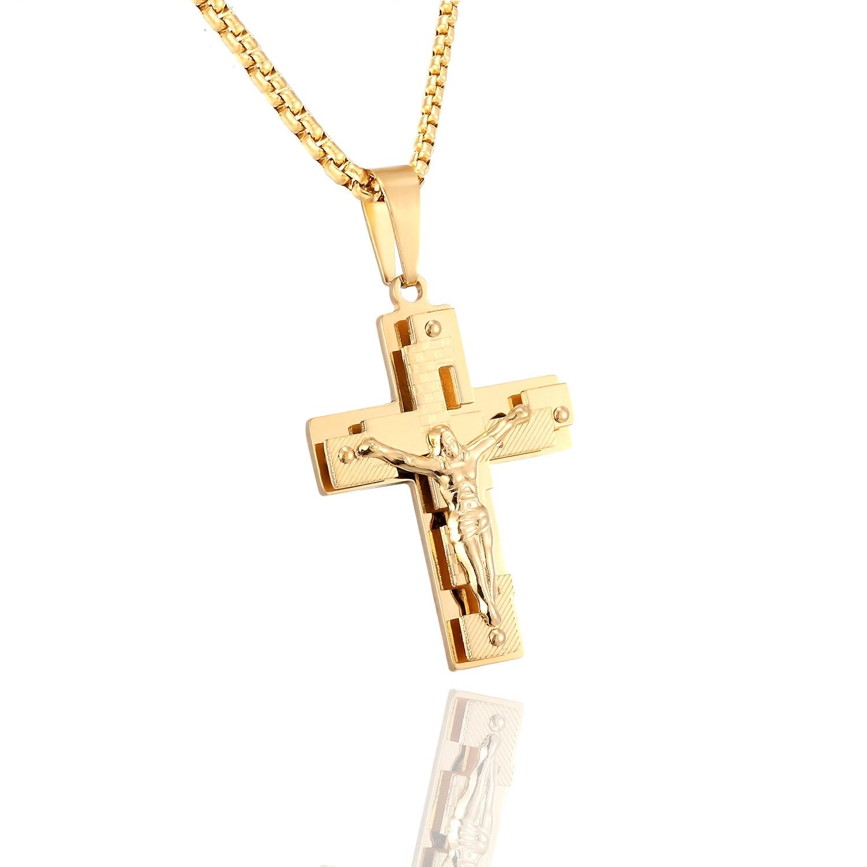 Многослойное ожерелье с подвеской крест Иисуса Христа цепочка из нержавеющей стали в коробке мужское золотистое колье с распятием ювелирн...