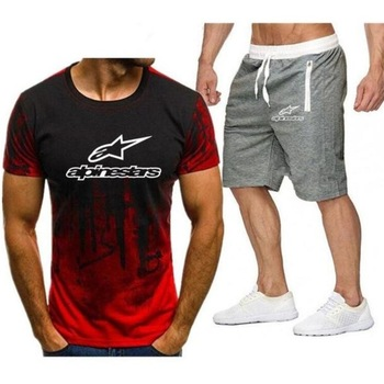 2020 summer new camouflage T-shirt shorts suit male Alpinestar printed short-sleeved fitness sportswear casual