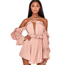 2019 New Dress Women Sexy Sling Holiday Chiffon Wooden Ear Long Sleeve Vestidos De Verano Mini