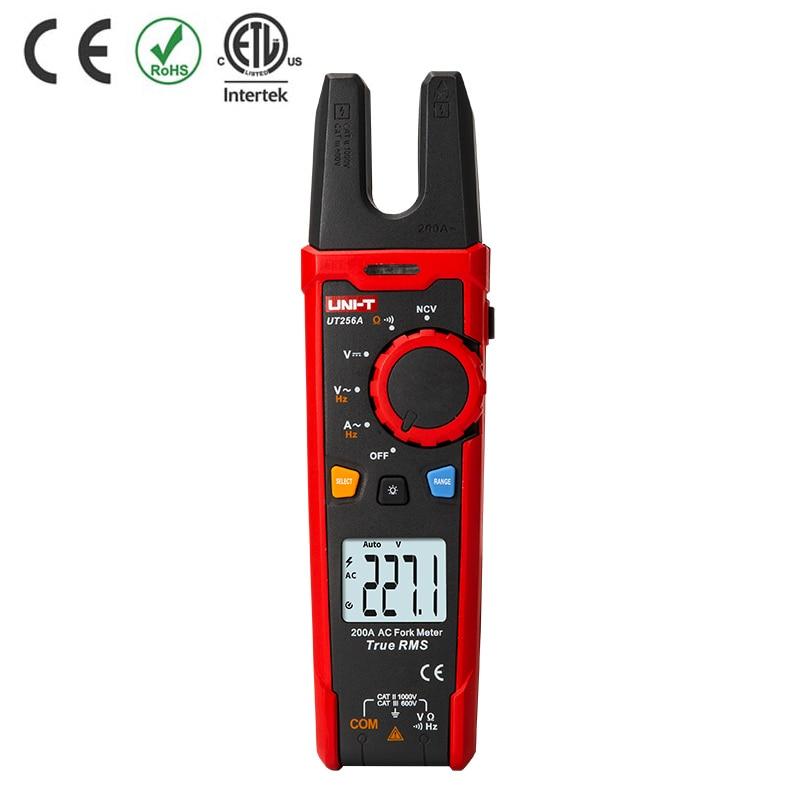 UNI-T UT256A UT256B Ture RMS Digital Clamp Fork Meter Multimeter AC DC Voltage Current Resistance Capacitance NCV Test Backlight