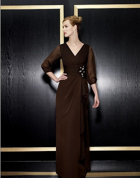 Free Shipping Maxi Formal 2018 New Vestido De Festa Long Plus Party Evening Elegant With Long Sleeve Mother Of The Bride Dresses