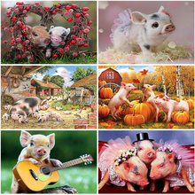 5d diy diamond painting pig full square/round embroidery sale