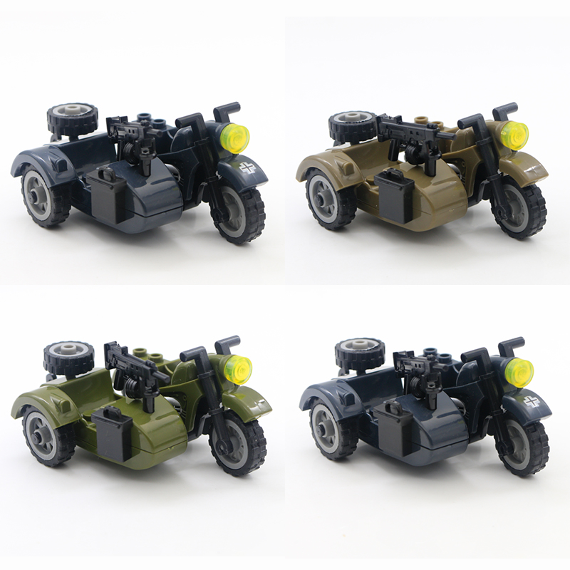 WW2 Motorcycle Soldiers Military Guns Army Weapons Lego Block Brick Children Toy