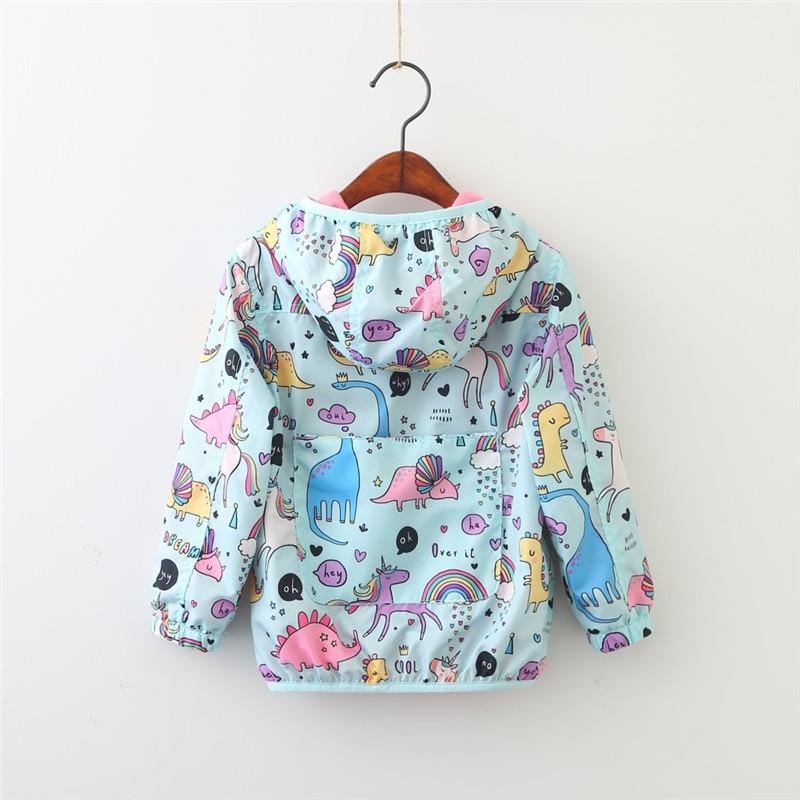 YorkZaler Kids Rain Jacket Baby Girl Boy Clothing Spring Children Long Sleeve Print Unicorn Dinosaur Hooded Coat Outerwear Tops 2