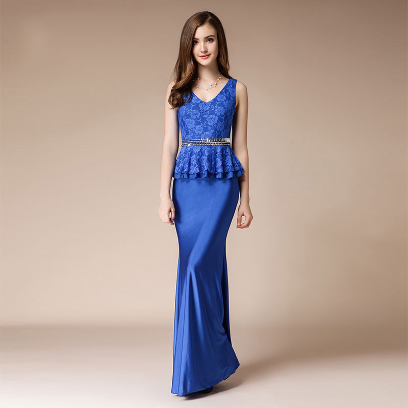 Mermaid Evening Dress Long 2 Piece Blue Prom Party Dresses Formal Women Elegant Lace Sexy Beaded