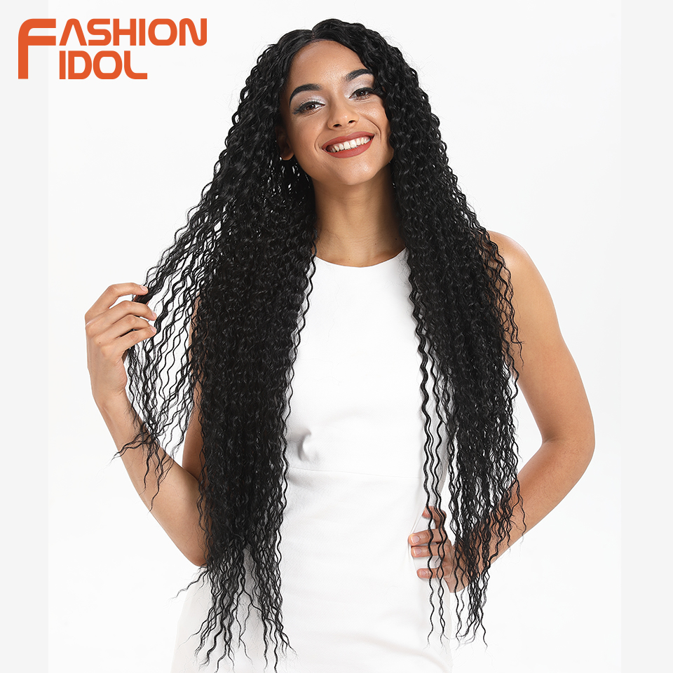 FASHION IDOL Kinky Curly Soft Long 38 Inch Ombre Golden Lace Front Wig Synthetic Hair Heat Resistant Fiber Wigs For Black Women