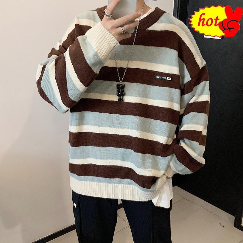Men's In Winter Warm Coats Casual Cashmere Pullover Stripe Knitting Woolen Sweater V-neck Sleeve Single Man Knit Size M-2XL