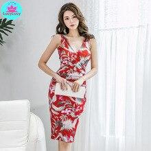 цена 2019 summer new Korean version of the ladies slim pack hip print v-neck bottoming dress